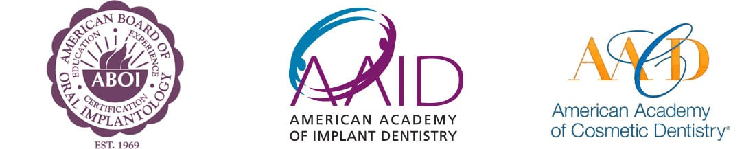 American Board of Oral Implantology, American Academy of Implant Dentistry, and American Academy of Cosmetic Dentistry Credential Logos
