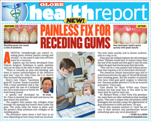 Chao Pinhole article titled 'Painless Fix For Receding Gums' from Globe Health Report
